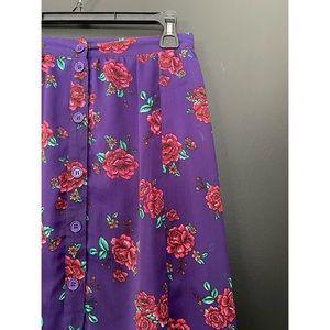 🖤 Floral Button-down Skirt